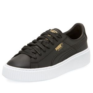 Puma Leather Basket Platform Sneakers in Black